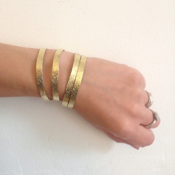 Hammered Brass Adjustable Slim Cuff - Delicate - Golden - Gold - Festival - Gypsy - Stacker - Bangle - Bracelet - Gift - Stacking