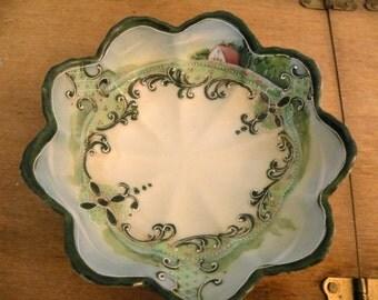 Vintage bowl hand painted japan Antique dish candy trinket nuts porcelain ceramic centerpiece Farmhouse kitchen serving ECS RDT