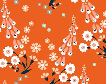 Cloud9 Foxgloves Orange Organic Cotton Fabric