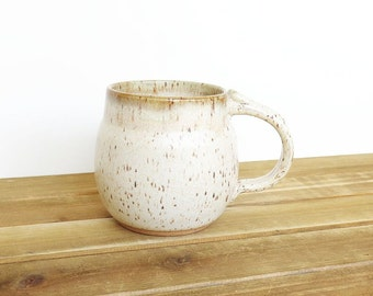 Ceramic Pottery Mug, Stoneware Coffee Cup in Satin Oatmeal Glaze