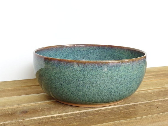 Stoneware Pottery Serving Bowl in Sea Mist Glaze, Rustic Kitchen, Ceramic Bowl