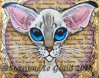 Original SIAMESE CAT painting on mini canvas by Suzanne Le Good