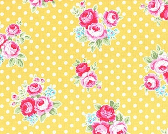 Yellow Rose Blossoms 31375 50 Fabric by Lecien Flower Sugar Sweet Carnival
