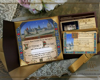 Medieval Castle Codex illuminated Manuscript style WEDDING invitation set-for handfasting, and medieval style weddings