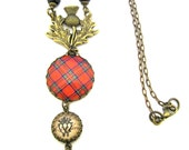 Scottish Tartan Jewelry - Tartans Special Occasion Collection - Royal Stewart Thistle Bail Necklace w/Luckenbooth Charm