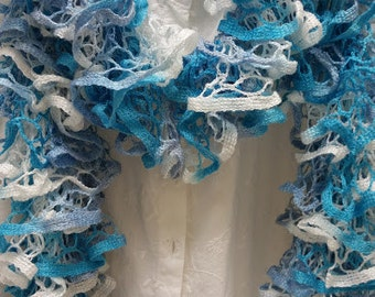 Ruffle Scarf, Knit Scarf, Hand Knit Scarf, Shades of Blues and White Scarf, Spring Scarf, Mother's Day, Womens Scarf
