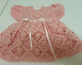 Preemie Baby Dress, Crochet Dress Baby Girl, Reborn Doll, Pink