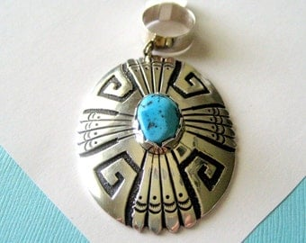 SALE...Large TOMMY SINGER Navajo Sterling Silver and Kingman Turquoise Overlay Pendant