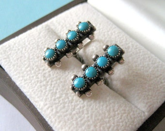 Zuni Petit Point Sterling Silver and Turquoise Screw Back Earrings
