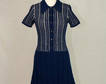 Mod Vintage 1970's Wool Sweater Dress Navy & White Button Down Peter Pan Collar