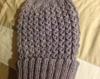 Greyish Lavender Cable Slouchy Knit Wool Hat