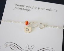 Personalized Friendship Anklet, Infinity Jewelry, Best Friend Gift, Birthstone, Sterling Silver Anklet, Infinite Charm, Monogram Anklet