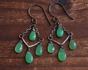 Sterling Silver Chrysoprase Earrings - Handcrafted Dainty Chandelier Earrings -Boho Fringe Earrings -Mint Green Earrings - Oxidized Earrings
