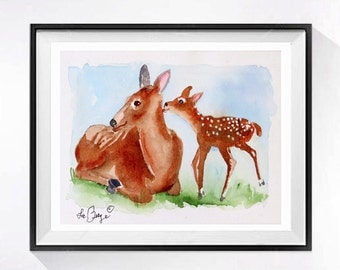 Animal art Original Watercolor painting, Forest watercolour, Deer wildlife animal watercolor, Nature woodland animal, Doe and fawn, - 4x6 O