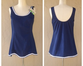 70s swimsuit / navy blue nautical tankini TOP ONLY / modesty skirt / new old stock TAGS / womens medium, 38 bust
