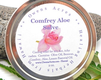 Comfrey Aloe Salve - Dry Skin, Itchy Skin, Skin Rash, Burn, Herbal Salve, Skin Salve, Cooling, Red Rash, Hot Rash, Soothing Skin Salve