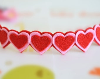 New! Set of 4pcs handmade felt hearts appliques--red/baby pink (FT1041)
