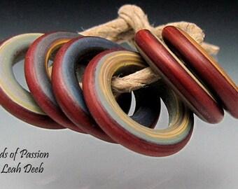 Handmade Glass Leah Deeb Lampwork - 6 Tie Dye Red Rings - Med