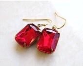 Clearance SALE Garnet Earrings Maroon Red Foiled Octagon Stone Rhinestone BEGoldV1