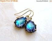 27% Off Sale Peacock Blue Earrings Foiled Pear Teardrop Stone Rhinestone BEGoldV3