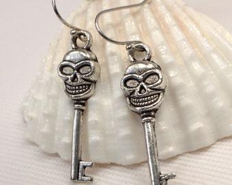 Skull Earrings, Tibetan Silver Skull Key Earrings, Rustic Silver Earring Dangles, Goth Rocker Earrings, Lightweight Key Drop Earrings (E354)