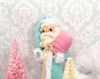 Santa doll santa centerpiece santa tree topper pink cotton candy pastel christmas art doll toni kelly original vintage inspired