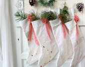 Family Christmas Stocking,Hand Sewn, stockings, set of Four (4) , handmade, Farmhouse Christmas Stockings, Vintage Quilt, Country style,