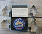 Vintage Mini Cookie Cutters, Christmas Village, House, Church, Tree, Ivyland PA, Fox Run Craftsmen