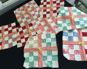 Set of 8 Vintage Hand Pieced Nine Patch Variation Quilt Blocks