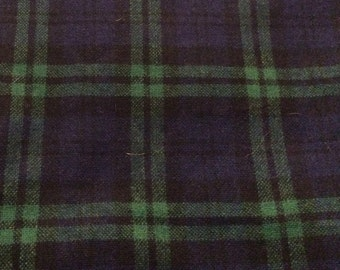 3 1/3 Yards of Vintage Blue, Black & Green Plaid Wool Blend Fabric