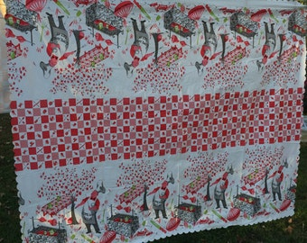Vintage Red and White Plastic Grilling Print Tablecloth