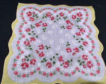 Vintage Yellow and White with Pink Roses Print Ladies' Hankie/Handkerchief