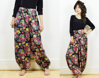floral harem pants, 90s boho trousers, harem pants, floral pants, wide leg pants, harem trousers, floral trousers, hippie pants, boho pants