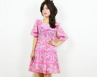 70s mini dress, prairie dress, cute pink dress, 70s prairie dress, hippie dress, boho dress, angel sleeve dress, festival dress, 70s dress