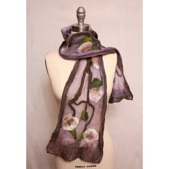 Nuno Felted Floral Scarf in Pink and Lavender