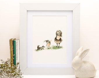 Children's Wall Art - Sisters and dog - Print size A3