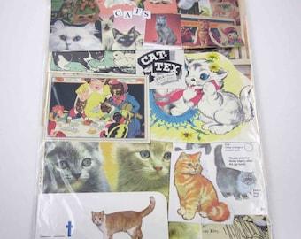 Cat Ephemera Pack 65 Pieces of Original Vintage Ephemera for Altered Art
