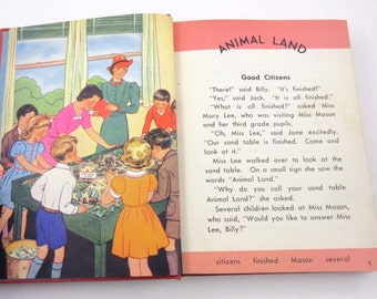 Busy World Vintage 1940s Children's School Reader or Textbook Quinland Readers by Allyn and Bacon Scottie Dog