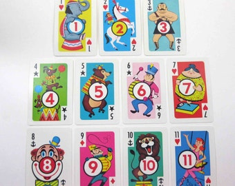 Vintage Circus Crazy Eights Character Children's Playing Cards by Whitman Set of 11