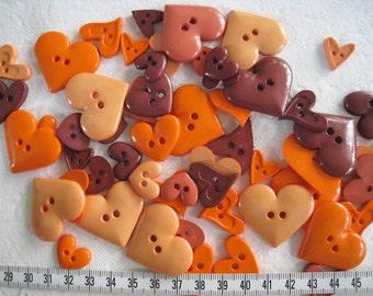 30 pcs of heart button - Autumn