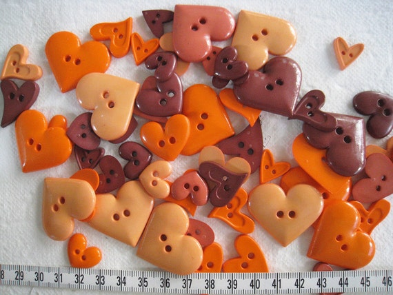 30 Pcs Of Heart Button Autumn From Buzzybeeshop On Etsy