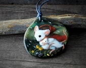 Beautiful mouse mom and baby in the rain Necklace, fused glass pendant, Art jewelry,