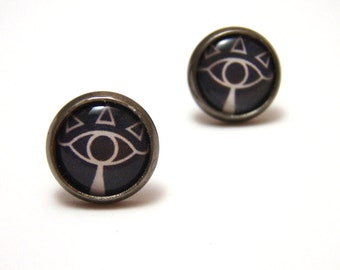 Zelda Sheikah Emblem Studs - Ocarina of Time inspired Shadow People Sheik symbol earrings - Choice of Black/White or Red/White