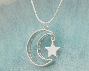 Personalised Secret Message Sterling Silver Moon and Star Necklace, Love you to the moon and back Necklace, Hidden Message, Personalized