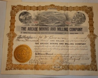 1910 The Arcade Mining and Milling Co Stock Certificate, 3000 Shares, #234 Denver Colorado Mine Precious Metals, Old West, Western Americana