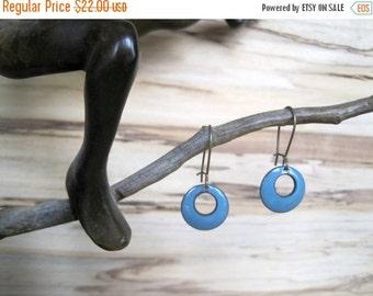 Delft Blue, Short Dangle Earrings, Green Blue Domed Drop Earrings, Blue Copper Enamel Jewelry, Nickel Free Kidney Earwire, Handmade Earrings