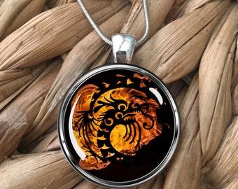 Fire Dragon Glass Pendant Necklace