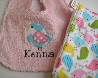 Personalized Birdie Bib and Burp Cloth Set