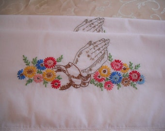 Praying Hands - Hand Embroidered Standard Size Pillowcases - Set of 2