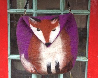 Custom Taos Fox Felt Messenger Bag with Adjustable Strap